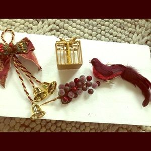 Other - Four maroon/gold Christmas ornaments
